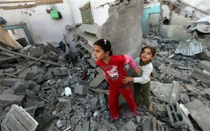 Playtime in Gaza. It's a safe bet that they aren't worried about asbestos.