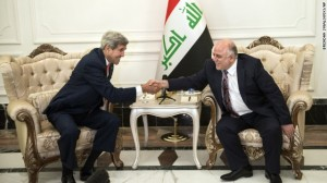 Secretary of State John Kerry meets with Iraqi Prime Minister Haider al-Abadi.
