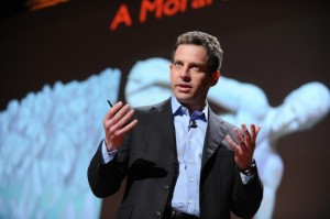 Sam Harris gives a lecture at a TED talk. Harris's TED talk is a valuable lesson in the moral instruction science can offer.