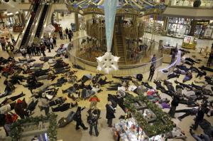 A die-in at a mall in Chesterfield, MO protests the shooting of Michael Brown.