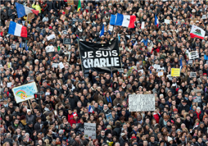 Hundreds of thousands marched at unity rallies in and around Paris to show support for free expression in the wake of the murders at Charlie Hebdo.