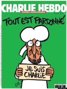 "The first Charlie Hebdo cover since the attacks, released Jan. 14, reads, ""All is forgiven"" and depicts Mohammad holding a sign with the rallying cry of those affected by the tragedy."