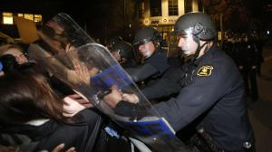 Police clash with protesters at a march against police brutality in Berkeley, California.