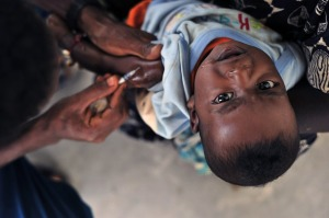 A child receives a vaccine.