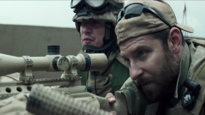 "Bradley Cooper as Navy SEAL Chris Kyle in the film ""American Sniper."""