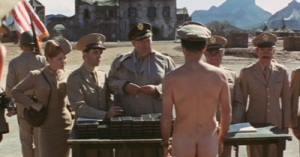 "Yossarian receives a medal in the nude in Mike Nichols's 1970 film version of ""Catch-22."""