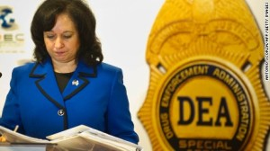 Outgoing DEA Administrator, Michele Leonhart, speaks at a conference.