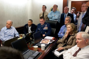 This famous photograph shows senior officials waiting for an update on the bin Laden raid, an event Hersh alleges was all but scripted.