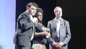 Activists join Democratic presidential candidate Martin O'Malley on stage at the Netroots Nation conference. (CNN)