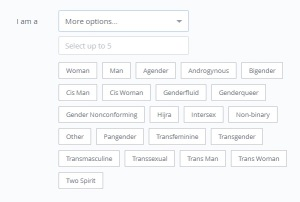 Dating website OKCupid allows its users 22 options when choosing their gender.