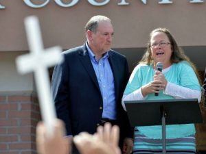 Kim Davis, an unrepentant hypocrite and bigot, was greeted with an adoring crowd and a smile from presidential candidate Mike Huckabee on her release from jail.
