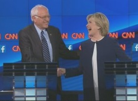 Sanders's refusal to attack his fellow candidates lead to an iconic moment in the first debate, seen as a win for Clinton, when Sanders said the country was tired of hearing about her