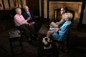 "Charles and David Koch are interviewed by MSNBC anchors ""Morning"" Joe Scarborough and Mika Brzezinski."